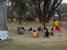 "Playing ""duck duck goose"""